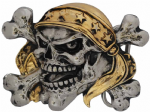 24ct. Gold and silver Plated Skull Bandit Crossbones Belt Buckle with display stand. Code KA6